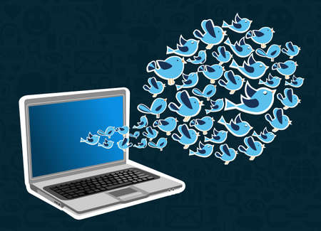 Social media network birds connection concept  illustration layered for easy manipulation and custom coloring  Vector