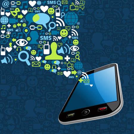 redes de mercadeo: Medios de comunicaci�n social iconos de conexi�n de red configurar ilustraci�n splash m�vil en capas para una f�cil manipulaci�n y colorante de encargo Vectores