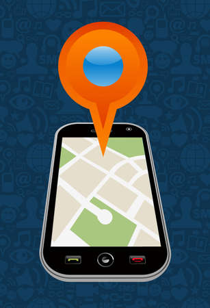 Geo location navigator in mobile application  illustration layered for easy manipulation and custom coloring  Stock Vector - 16946527