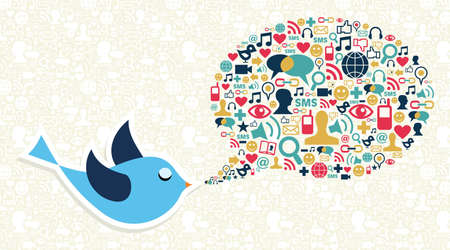 communications equipment: Blue bird cartoon and social media icon set in speech bubble shape  file layered for easy manipulation and custom coloring  Illustration