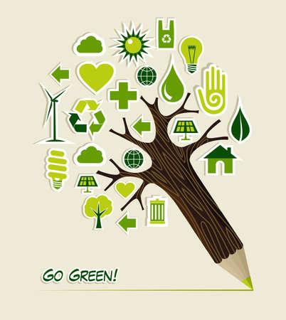educazione ambientale: Icone di conservazione ambientale in forma di albero, illustrazione, matita a strati per una facile manipolazione e la colorazione personalizzata
