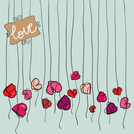 Valentine day spring flowers heart background  illustration layered for easy manipulation and custom coloring  Stock Vector - 17628693