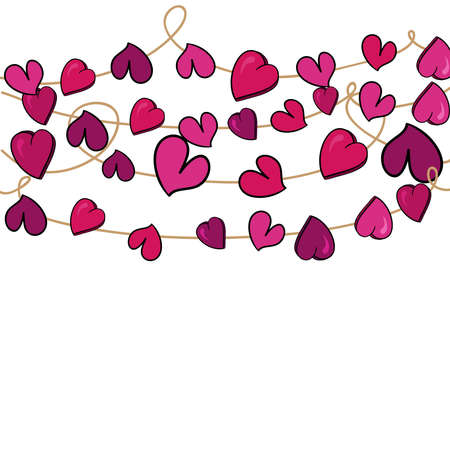 Valentine day love heart flowers hanging over white background  illustration layered for easy manipulation and custom coloring Stock Vector - 17628683