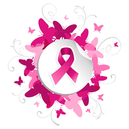 cancer ribbon: Breast cancer awareness pink ribbon in sticker over spring background. file layered for easy manipulation and custom coloring. Illustration