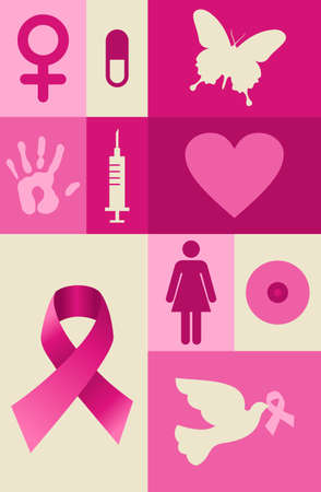 cancer ribbon: Breast cancer awareness icon set. file layered for easy manipulation and custom coloring.