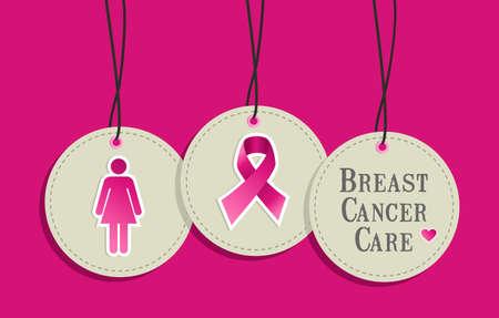 cancer de mama: Breast símbolos cáncer de sensibilización en conjunto hangtags. archivo en capas para una fácil manipulación y coloración personalizada.