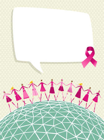 women breast: Breast cancer care global awareness with speech bubble and women teamwork. file layered for easy manipulation and custom coloring.