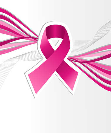 cancer ribbon: Breast cancer awareness pink ribbon over contemporary background. file layered for easy manipulation and custom coloring. Illustration