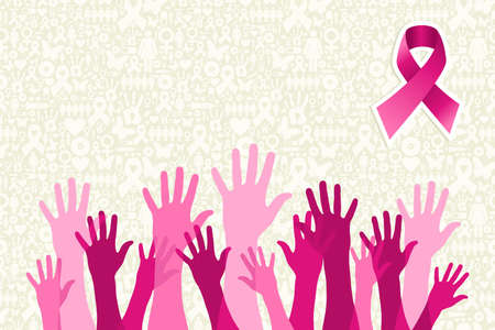 Breast cancer awareness hand people campaign over icon set background. file layered for easy manipulation and custom coloring. Ilustrace