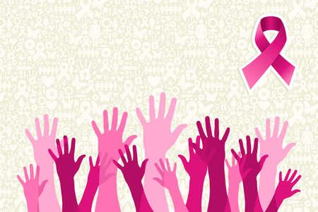 cancer de mama: El c�ncer de mama campa�a de lado la gente la conciencia sobre el icono de fondo conjunto. archivo de capas para la manipulaci�n f�cil y colorante de encargo. Vectores