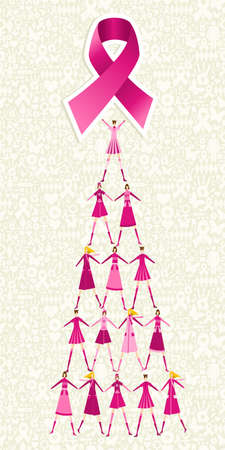 cancer woman: Pyramid of women holding one pink breast cancer ribbon on icon set background. file layered for easy manipulation and custom coloring.
