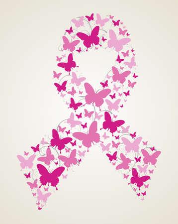 cancer de mama: Mariposas rosadas en s�mbolo del c�ncer de mama cinta de la conciencia. archivo en capas para una f�cil manipulaci�n y coloraci�n personalizada.
