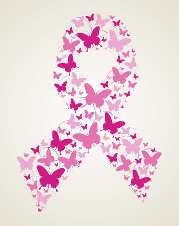 cancer ribbon: Pink butterflies in breast cancer awareness ribbon symbol. file layered for easy manipulation and custom coloring.