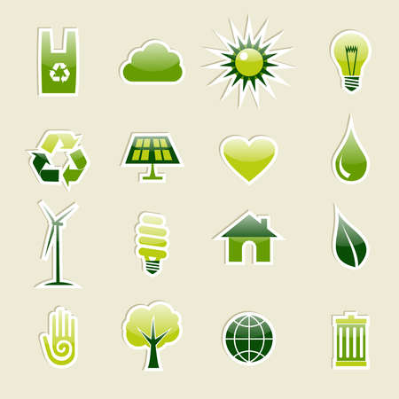 Go Green modern glossy icon set. illustration cleanly built grouped and ordered in layers for easy editing.  Vector
