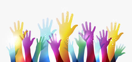 education policy: Diversity transparent hands on white background. Illustration