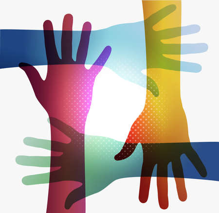 interaction: Diversity transparent hands on white background. Illustration