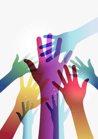 democracia: Diversidad manos transparentes sobre fondo blanco. Vectores