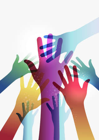 Diversity transparent hands on white background. Illustration