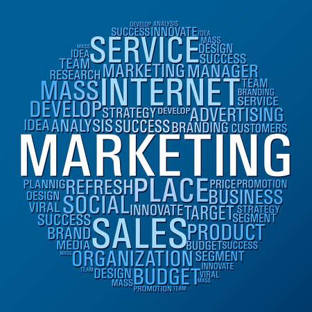 Internet Marketing parole del concetto di cerchio su sfondo blu.