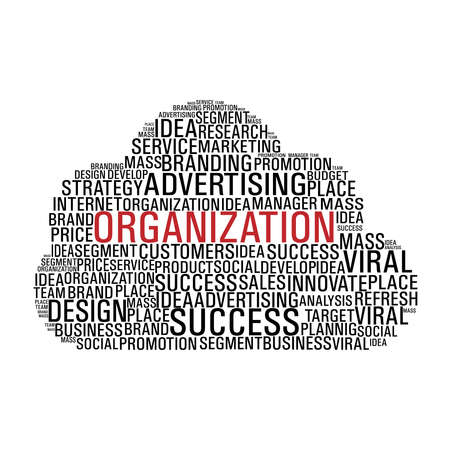 mass media: Cloud computing with words related to business organization isolated over white. file layered for easy manipulation and custom coloring. Illustration