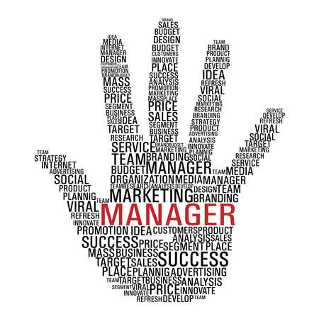 sales manager: Hand shape with words related to marketing management isolated over white. Illustration