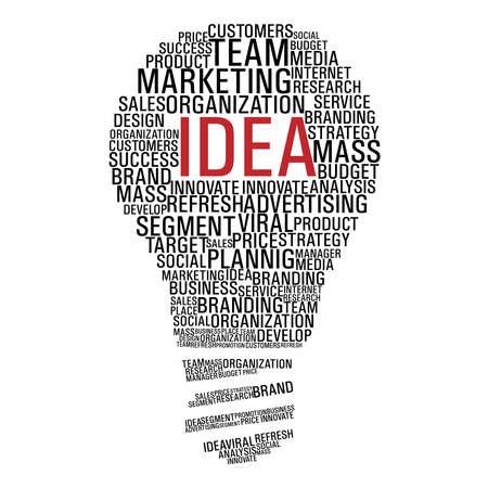 Forme ampoule avec des mots le concept de marketing isolé sur blanc. fichier en couches pour une manipulation aisée et la coloration personnalisée.