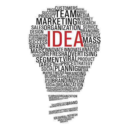 Light bulb shape with marketing concept words isolated over white. file layered for easy manipulation and custom coloring.