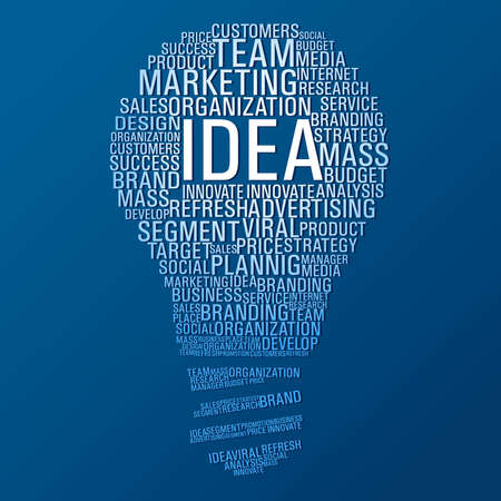 brand: Light bulb shape with marketing concept words on blue background. Illustration