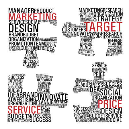 develop: Puzzle pieces with marketing concept words isolated over white background