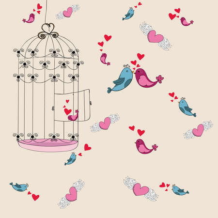 freedom couple: Valentine day spring bird and cage love background. Vector illustration layered for easy manipulation and custom coloring.