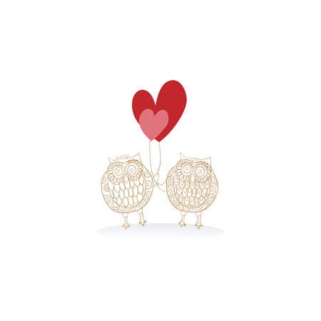 Valentine day owl couple in love isolated over white. Vector illustration layered for easy manipulation and custom coloring. Vector