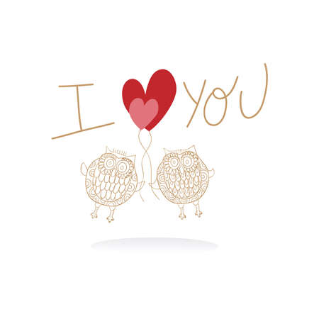 Valentine day owl love greeting card background. Vector illustration layered for easy manipulation and custom coloring. Stock Vector - 17876632