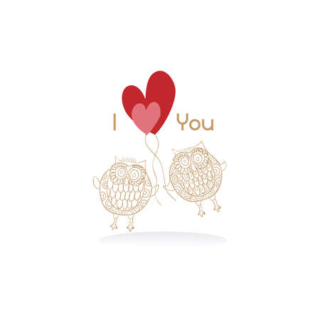 Valentine day lovely owls greeting card. Vector illustration layered for easy manipulation and custom coloring. Stock Vector - 17876630
