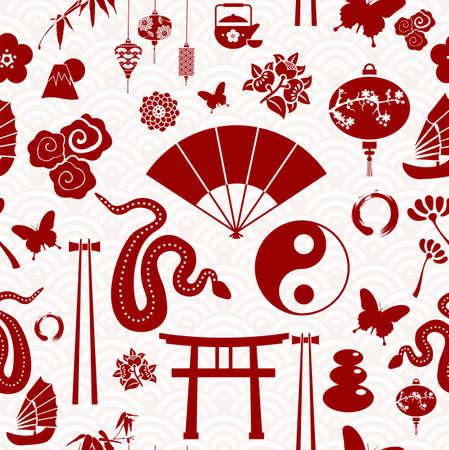 flores chinas: A�o Nuevo chino de la Serpiente iconos seamless pattern. Ilustraci�n vectorial en capas para una f�cil manipulaci�n y coloraci�n personalizada.