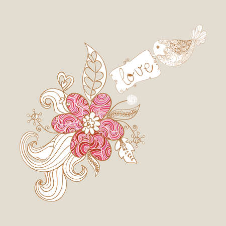 Valentine day spring bird love background. Vector illustration layered for easy manipulation and custom coloring. Vector