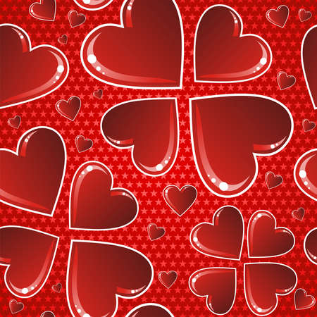 fall in love: Valentine day red love heart shape seamless pattern. Vector illustration layered for easy manipulation and custom coloring.