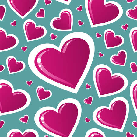 endlos: Valentinstag rosa Liebe Herzform nahtlose Muster. Vektor-Illustration für einfache Handhabung und individuelle Färbung geschichtet.
