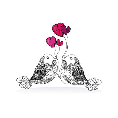 Valentine day bird love isolated over white background. Vector illustration layered for easy manipulation and custom coloring. Vector