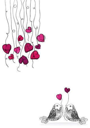 Valentine day spring couple birds love isolated over white. Vector illustration layered for easy manipulation and custom coloring. Stock Vector - 17876681