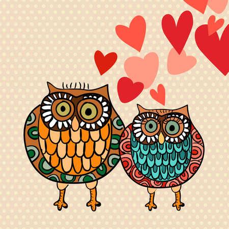 enamorados caricatura: Día de San Valentín búhos preciosos tarjetas de felicitación. Ilustración vectorial en capas para una fácil manipulación y coloración personalizada.