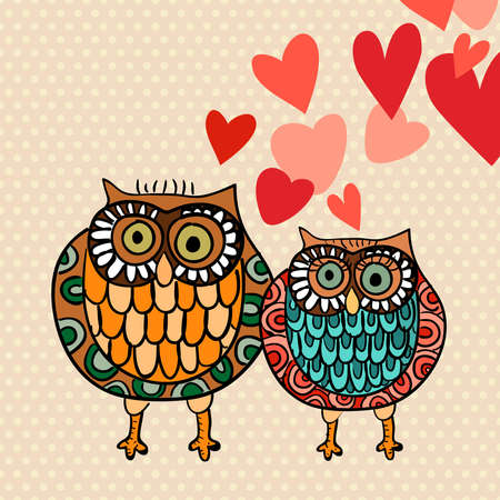 cute tree: Valentine day lovely owls greeting card. Vector illustration layered for easy manipulation and custom coloring.