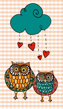 Valentine day couple owls in love under hearts raining. illustration layered for easy manipulation and custom coloring. Stock Vector - 17876686