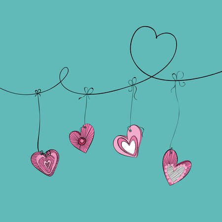 Valentine day hand drawn hanging hearts background. Vector illustration layered for easy manipulation and custom coloring. Vector