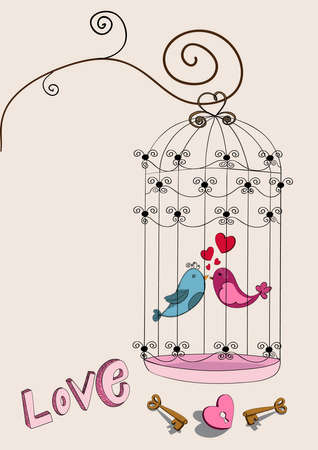 Valentine day freedom bird love background. Vector illustration layered for easy manipulation and custom coloring. Vector