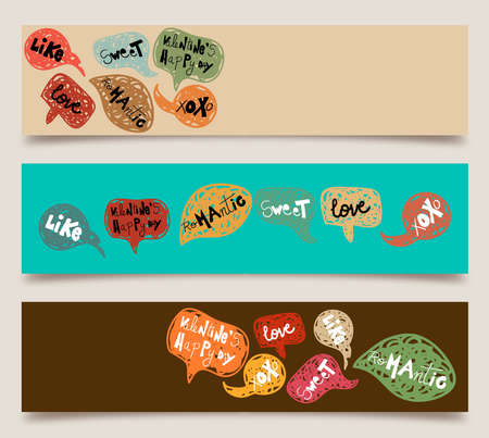 Happy valentines day hand-drawn speech bubble banner set. Vector illustration layered for easy manipulation and custom coloring. Vector