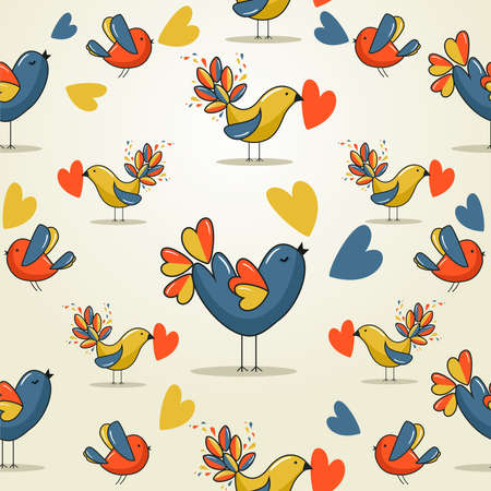 birdie: Valentine day love bird seamless pattern. illustration layered for easy manipulation and custom coloring.