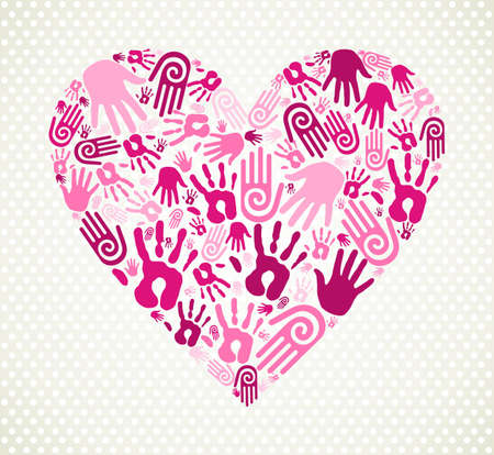 Love heart made with expressive hand print. illustration layered for easy manipulation and custom coloring. Vector