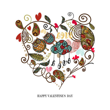 Valentine day cute heart with plants and owls couple isolated over white. Vector illustration layered for easy manipulation and custom coloring. Stock Vector - 17878165