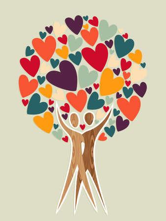Diversity Baum der Liebe Hintergrund. Illustration für eine einfache Handhabung und individuelle Färbung geschichtet. Vektorgrafik