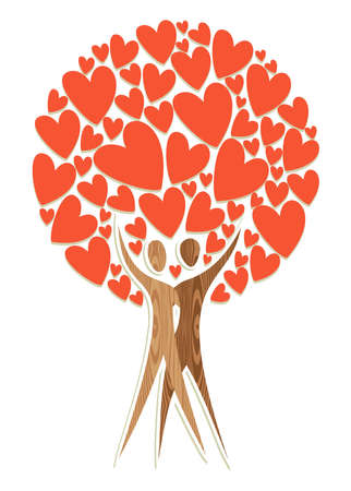 Valentine day couple tree of love isolated over white. illustration layered for easy manipulation and custom coloring. Vector